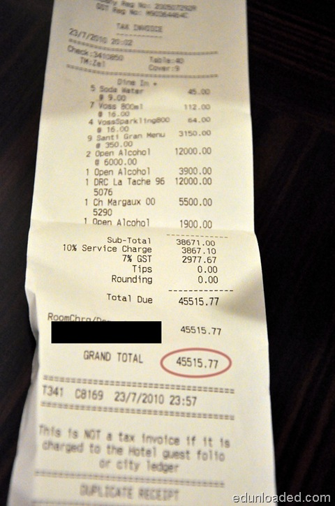 marina sands receipt